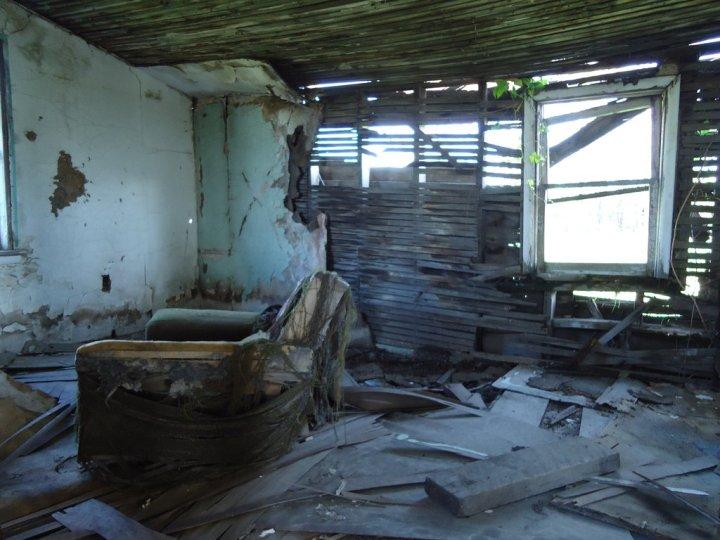 Ruined house interior